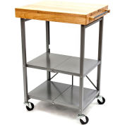 "Origami RBT-02 Kitchen Cart, Collapsible, 3 Tier, 24"" x 20"" Shelf Size, Silver"