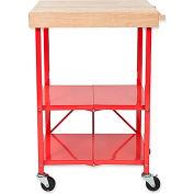 "Origami RBT-06 2 Shelf Kitchen Cart 25-1/4""L x 19-3/4""W x 36-1/4""H Red"