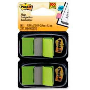 """Post-it® Flags, 1"""" Wide, Bright Green, 50 Flags/Dispenser, 2 Dispensers/Pack"""