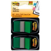 """Post-it® Flags, 1"""" Wide, Green, 50 Flags/Dispenser, 2 Dispensers/Pack"""