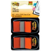 "Post-it® Flags, 1"" Wide, Orange, 50 Flags/Dispenser, 2 Dispensers/Pack"