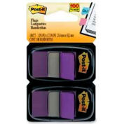 "Post-it® Flags, 1"" Wide, Purple, 50 Flags/Dispenser, 2 Dispensers/Pack"