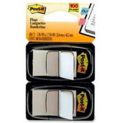 """Post-it® Flags, 1"""" Wide, White, 50 Flags/Dispenser, 2 Dispensers/Pack"""