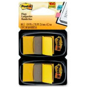 """Post-it® Flags, 1"""" Wide, Yellow, 50 Flags/Dispenser, 2 Dispensers/Pack"""