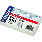 """Oxford® Grid Index Cards 02035, 3"""" x 5"""", White, 100/Pack"""