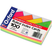 """Oxford® Rule Index Cards 40279, 3"""" x 5"""", Glow Assorted, 100/Pack"""