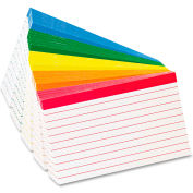 """Oxford® Color Coded Rule Index Cards 04753, 3"""" x 5"""", Assorted, 100/Pack"""