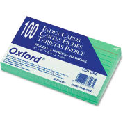 """Oxford® Rule Index Cards 7321GRE, 3"""" x 5"""", Green, 100/Pack"""