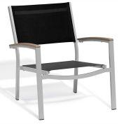 Oxford Garden® Travira Chat Chair, Black Sling, Tekwood Vintage Armcaps, 2/pack