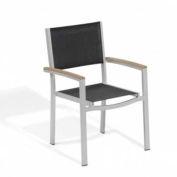 Oxford Garden® Travira Outdoor Armchair - Black Sling - Tekwood Vintage Armcaps (2 pk)