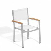 Oxford Garden® Travira Outdoor Armchair - Natural Sling - Tekwood Natural Armcaps (2 pk)