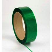 "Embossed Polyester Strapping 1/2"" x .028"" x 6,500' Green 16"" x 6"" Core - Pkg Qty 28"
