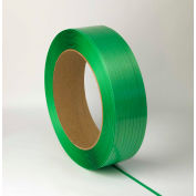 "Lubricated Polyester Strapping 5/8"" x .030"" x 4,600' Green 16"" x 6"" Core - Pkg Qty 28"