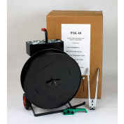 """Pac Strapping Polyester Kit w/ Tensioner/Sealer/Seals & Cart, 4200'L x 5/8"""" Strap Width Coil, Black"""