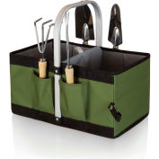 Picnic Time Garden Caddy Outdoor Gardening Basket Olive Green/Black
