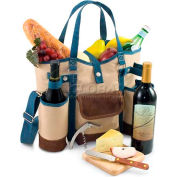 Picnic Time Wine Country Tote, Tan/Slate Blue