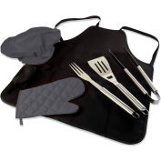 Picnic Time BBQ Apron Tote Pro with Deluxe BBQ Set Black with Dark Gray Trim