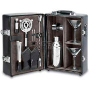 Picnic Time Manhattan Two-Bottle Wine Carrier, Black with Gray Interior