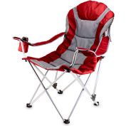 Picnic Time Reclining Padded Camp Chair 300 Lbs Capacity w/ Carrying Bag Dark Red