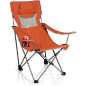 Picnic Time Camping Chair w/ Cup Holder & Headrest-Pillow w/ Carrying Bag 300 Lbs Cap. Orange/Gray
