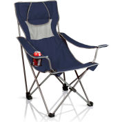 Picnic Time Camping Chair w/ Cup Holder & Headrest-Pillow w/ Carrying Bag 300 Lbs Cap. Navy/Gray