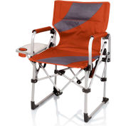 Picnic Time Meta Chair w/ Side Table, Cup Holder, & Pocket 400 Lbs Capacity Burnt Orange/Gray