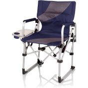 Picnic Time Meta Chair w/ Side Table, Cup Holder, & Pocket 400 Lbs Capacity Navy/Gray