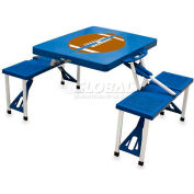 Picnic Time Football Portable Folding Picnic Table with Seats, Blue
