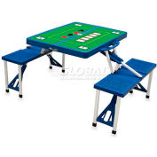 Picnic Time Poker Portable Folding Picnic Table with Seats, Blue