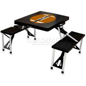 Picnic Time Football Portable Folding Picnic Table with Seats, Black