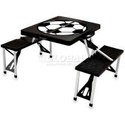 Picnic Time Soccer Portable Folding Picnic Table with Seats, Black