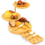 Picnic Time Regalio 3-Tier Serving Tray/Cheese Board with Cheese Tools