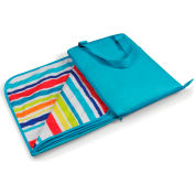 """Picnic Time Vista Outdoor Blanket Tote Unfolds to 59"""" x 51"""" Aqua Blue with Fun Stripes"""