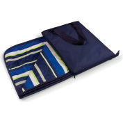 """Picnic Time Vista Outdoor Blanket Tote Unfolds to 59"""" x 51"""" Navy Blue with Lime Stripes"""