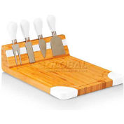Picnic Time Artisan Cutting Board with Cheese Tools, Natural Wood with White Accents