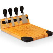 Picnic Time Artisan Cutting Board with Cheese Tools, Natural Wood with Black Accents
