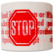 "White STOP Sign Tape 3"" x 110 Yds 2 Mil 144 Rolls (6 Cases) - Pkg Qty 144"