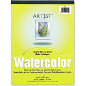 """Pacon® Artist Watercolor Paper Pad 4910, 9"""" x 12"""", White, 12 Sheets/Pad"""