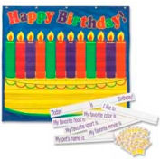 "Pacon® Dry-Erase Birthday Pocket Chart, 35"" x 33"", Blue, 1 Each"