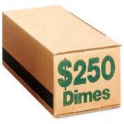 PM® SecurIT® Coin Box, For $250 Dimes, Green, 50/Carton