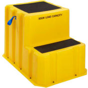 """2 Step Plastic Step Stand Extra Large - Yellow 25-1/2""""W x 33""""D x 24""""H - NTXST-2 YEL"""