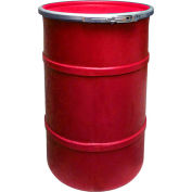 US Roto Molding 35 Gallon Plastic Drum SS-OH-35 - Open Head with Plain Lid - Bolt Ring - Red