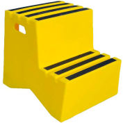 """2 Step Plastic Step Stand - Yellow 21""""W x 24-1/2""""D x 19-1/2""""H - ST-2 YEL"""