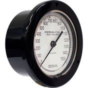 """Perma-Cal 101FTM04A01, 4.5"""" Dial, 0-100 psi, 1/4"""" NPT, Rear Mount, SS Connection, BLK Front Flange"""