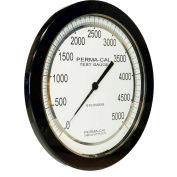 """Perma-Cal 108FTM13A21,8.5"""" Dial,0-2,000 psi,1/4"""" NPT,Bottom Mount,SS Connection,BLK Front Flange"""