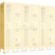 """Penco 602110V**-736 Invincible II Group End For 3 Tier Lockers, Perf, 16 Ga, 12""""D X 72""""H, Burgundy"""