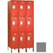 """Penco 6407G-3W-KD-028 Guardian Locker Triple Tier 3 Wide, 12""""W x 12""""D x 20""""H, Gray"""