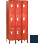 """Penco 6451G-3W-KD-822 Guardian Locker Triple Tier 3 Wide, 15""""W x 15""""D x 20""""H, Regal Blue"""
