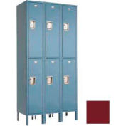 "Penco 6C227-3W-KD-736 Guardian Plus Locker, Double Tier 3 Wide, 15""W x 12""D x 30""H, Burgundy"