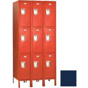 "Penco 6C411-3W-KD-822 Guardian Plus Locker, Triple Tier 3 Wide, 12""W x 18""D x 20""H, Regal Blue"